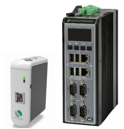 The Servotronix softMC 3 and softMC 7 (left to right) multi-axis motion controller with model-based control and real-time EtherCAT motion bus